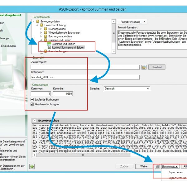 """Legen Sie noch den Speicherort und die abgebildeten Einstellungen fest und erstellen die SuSa-Datei mit """"Exportieren"""" oder """"Exportieren und Schließen""""."""