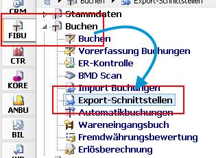 """Klicken Sie in der Übersichtsdarstellung auf """"FIBU"""" -> """"Buchen"""" -> und öffnen """"Export-Schnittstellen""""."""