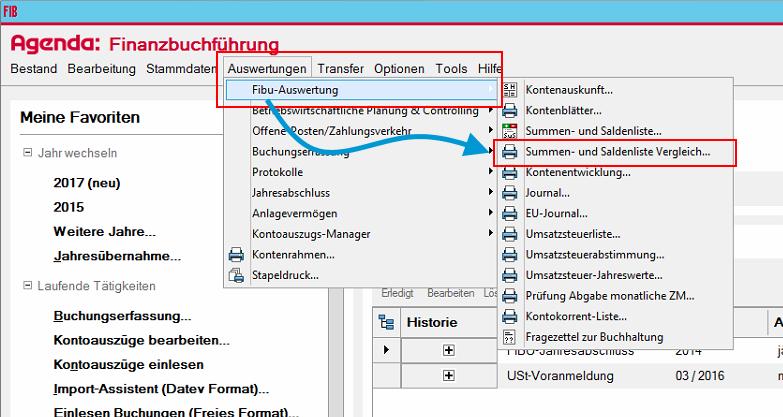 """KlickenSie im Menü oben auf """"Auswertungen"""" -> """"Fibu-Auswertung"""" -> """"Summen- und Saldenliste Vergleich...""""."""